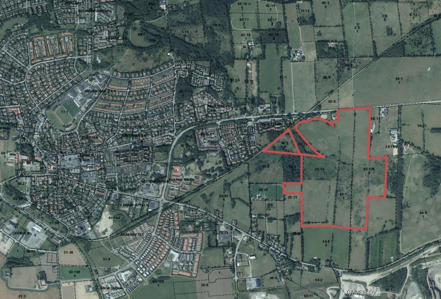 Karta med ett markerat området för naturreservatet öster om Dalby