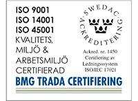 Sigill för ackreditering och bevis för isocertifiering från Bmg trada certifiering för ISO 9001, ISO 14001, ISO 45001.