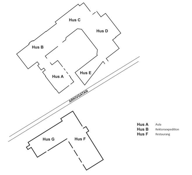 Karta över Spyken med hus A-E på ena sidan Arkivgatan och hus G och F på andra sidan.