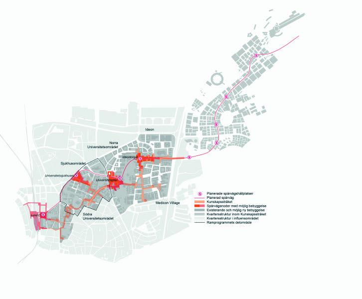 Strukturplan, karta, över området. Kunskapsstråket sträcker sig från Lund C, via sjukhuset och universitetet till Ideon och Medicon Village.
