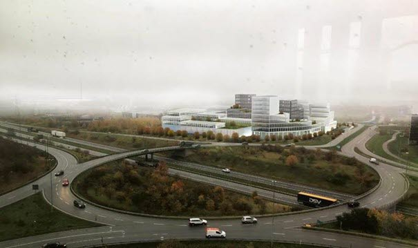 Översiktsbild av Axis framtida kontorsbyggnad där Saab kommer att bli granne
