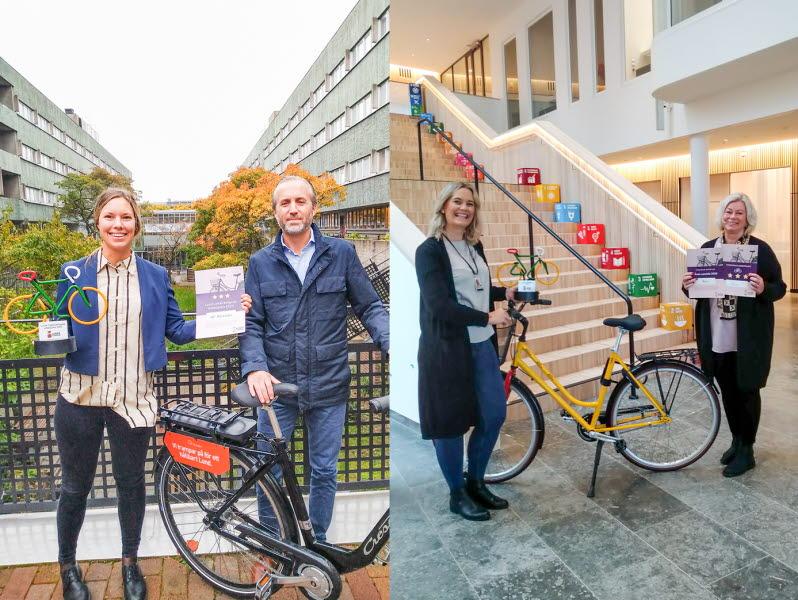Två sammansatta bilder som visar vinnanra: två personer från AF Bostäder, en kvinna och en man, som poserar med pokalen och en cykel utomhus, samt två kvinnor från Axis som står med cykel och pokal inomhus.
