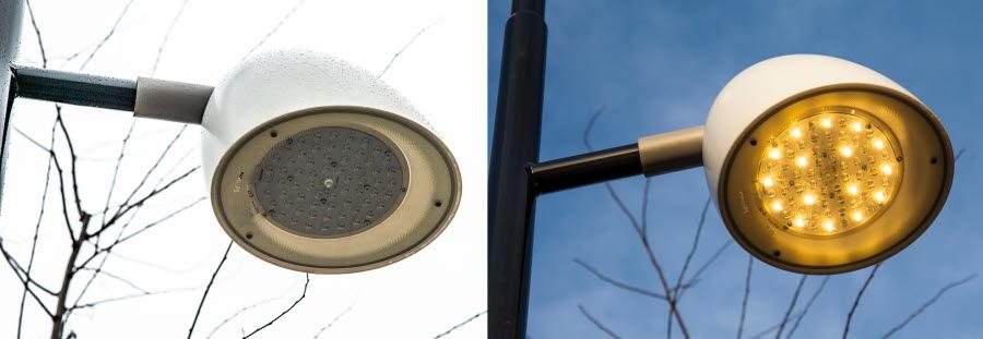 Närbild på led-lampa längs med spårvägen. Den ena är släckt och den andra lyser.