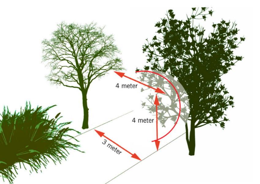 Illustration som visar att fordonet behöver 3 meter bred vägbana samt 4 meters fri höjd.