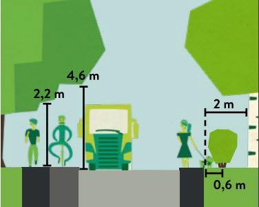 Bilden visar att du ska ha fri höjd 2,2 meter upp till träd för gående och cyklister och 4,5 meters fri höjd för fordon.