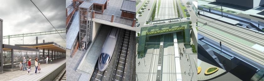 Kollagebild som visar visionsbilder av de nya stationerna längs fyrspåret Malmö-Lund.